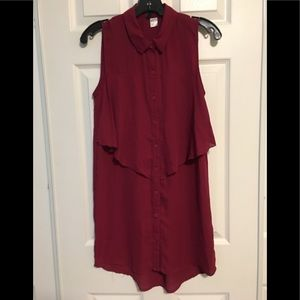 H&M Wine Red Chiffon sleeveless Shirt-Dress Size 4